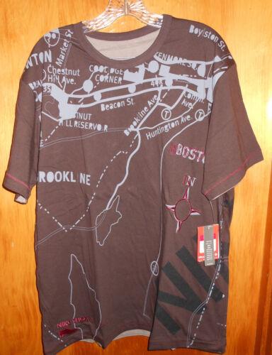 NWT NIKE Shox Mens Reversible T Shirt Sz L Boston Marathon Route