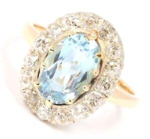 585-14k-14kt-antiker-Aquamarin-Gold-Ring-Aquamarinring-Diamant-Damen-Goldring