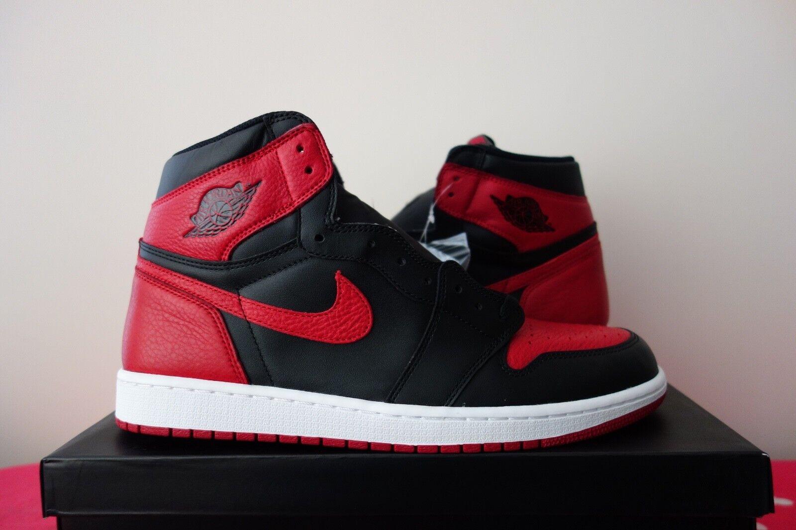 Nike Air Jordan 1 Retro High OG Banned BRED Black Red 555088 001 off white sean