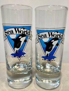 Set-of-2-Vintage-1989-Sea-World-Tall-Shooter-Shot-Glasses