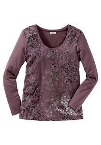 155 Sheego Top Shirt Langarm Longshirt Gr.40 bis 50 mit Spitze 732 Rose