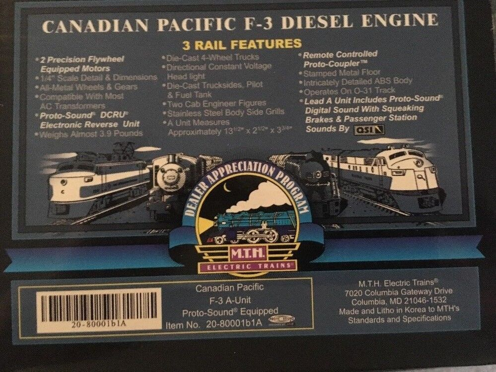 MTH    20-80001 Dealer Appreciation Program 1999 Canadian pacific Set 19cf0a