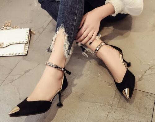 Pointed toe womens suede metal t strap stilettos fashion mid high heel shoes A04