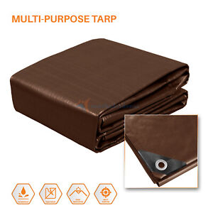 Brown-Multi-Purpose-Tarp-Poly-Tarpaulin-Canopy-Tent-Shelter-Car-HeavyDuty-15-Mil