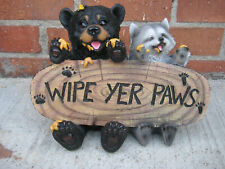"Forest Pals Welcome Sign Twin Black Bears And Racoon Garden Greeter Statue 16/""L"