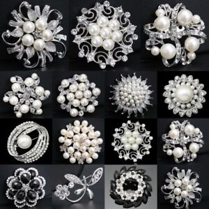 Details about Silver Tone Pearl Flowers Diamante Crystal Brooch Pin DIY  Wedding Bridal Bouquet