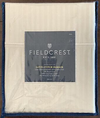 FIELDCREST Satin Stitch Damask Full 4-pc Sheet Set 100/% Cotton 500 Rig Blue