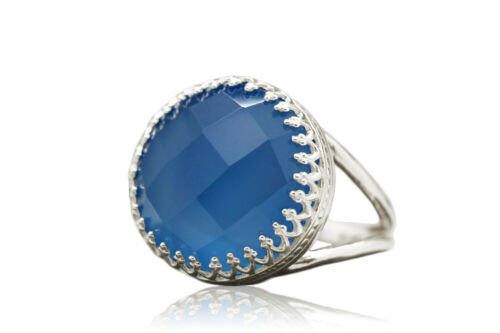 Artisan-made Fine Blue Chalcedony Ring in 925 Sterling Silver by Anemone Jewelry