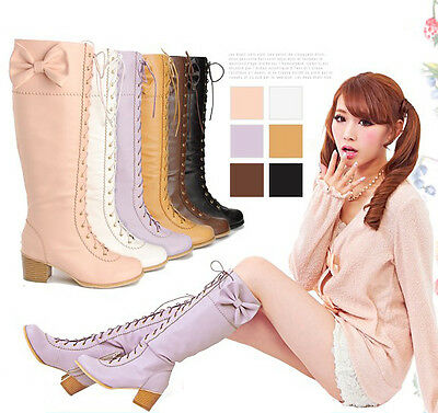 Lolita Cute Round Toe Lace Up Womens Shoes Bowknot Chunky Heels Knee High Boots