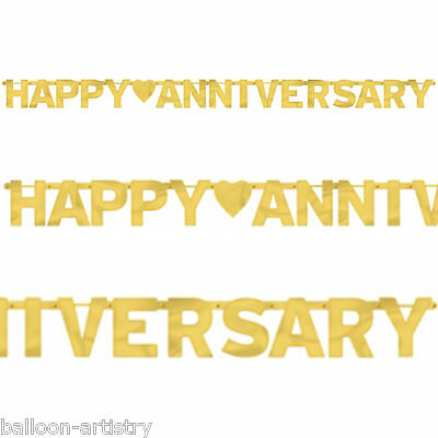 2.3m Gold Golden 50th Happy Anniversary Party Metallic Letter Banner Decoration