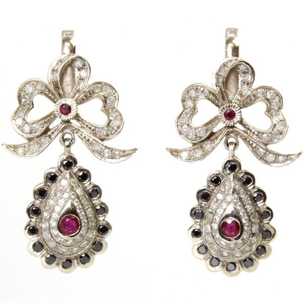 Pair of 14K White Gold 1.92ct Diamond & Ruby Designer Earrings