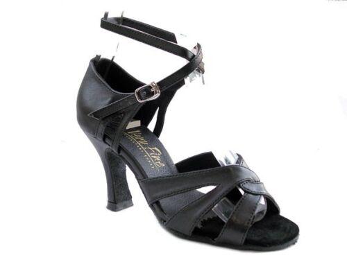 1658 Black Leather Swing Ballroom Salsa Mambo Latin Dance Shoes heel 3 Size 9