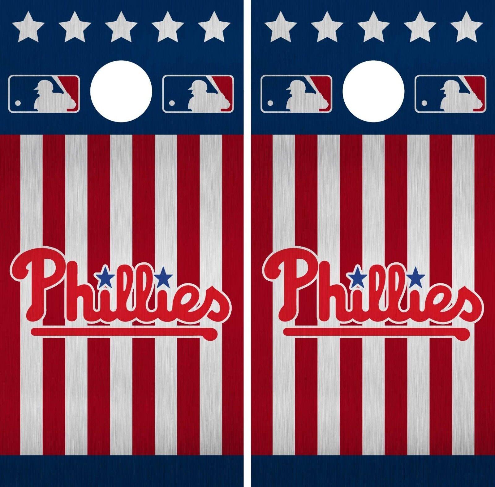 Philadelphia Phillies Cornhole Wrap MLB America Game Skin Set Vinyl Decal CO509