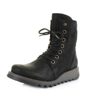 1e5171a11f1 Womens Fly London Suti Cupido Black Leather Lace Up Ankle Boots Size ...