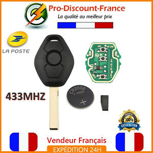 Cle-Vierge-Complete-433MHZ-ID44-PCF7935-Pour-BMW-Lame-Vierge-Coque-HU92-Pile