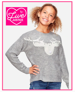 NWT Girls Justice Gray Long Sleeve Sweater w//Reindeer
