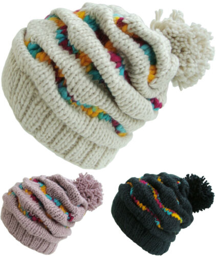 Womens Top Quality Chunky Knit Beanie Hat in Black Pink or Off White