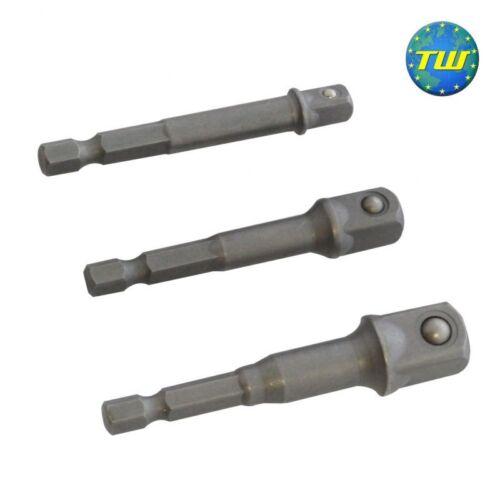 3pc extra long douille adaptateur foret fixation nut driver extension mini bar set