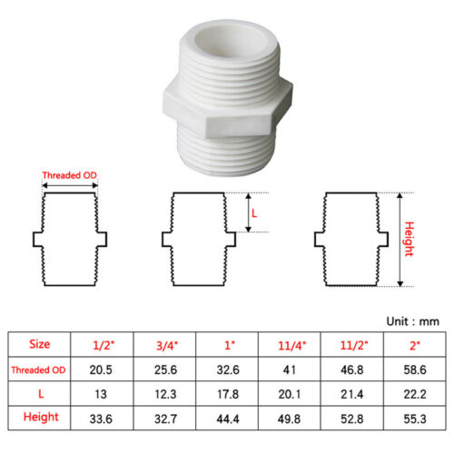 """PVC Water Supply Pipe 1//2/"""" 3//4/"""" 1/"""" 11//4/"""" 11//2/"""" 2/"""" Male Threaded Fittings Adapter"""