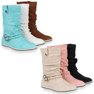super popular 56ffe 72a8f Details zu Damen Stiefeletten Schlupfstiefel Flache Übergangs-Schuhe 98206  Gr. 36-42 Schuhe