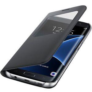 Original-Samsung-S-View-Cover-Schutz-Huelle-EF-CG935-fuer-Galaxy-S7-Edge-Schwarz