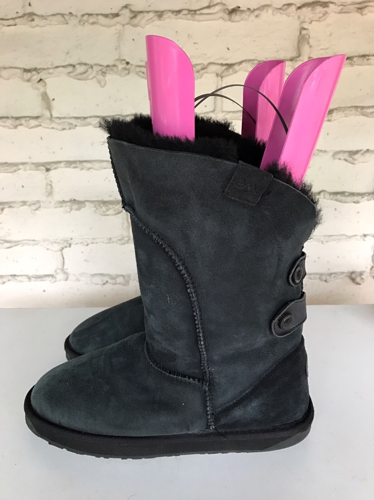 EMU WOMEN'S AUSTRALIA ALBA BOOT BUTTON SHEEPSKIN LEATHER CHARCOAL US 10