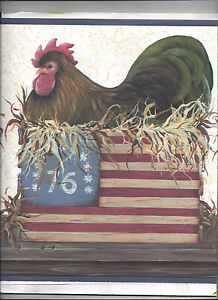 Image Is Loading WALLPAPER BORDER CHICKEN ROOSTER CRATES AMERICANA FLAG PATRIOTIC