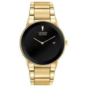 Citizen-Eco-Drive-Axiom-Men-039-s-Black-Dial-Gold-Tone-40mm-Watch-AU1062-56E