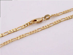 Details About 18k Gold Plated 18kgp Stamped 2mm Fine Figaro Chain Necklace Pendant 16 30 F2g