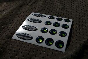 Chrome Custom 3D en forme de dôme VERT NOIR Cadran Ovale Autocollants Kit Delkim TXI EV PLUS