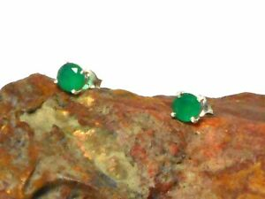 EMERALD-Sterling-Silver-925-Gemstone-EAR-STUDS-5-mm-Gift-Boxed
