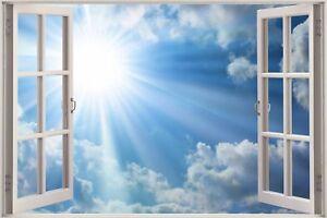 Cheap-3D-Window-view-Morning-Clouds-Wall-Sticker-Mural-Art-Decal-Wallpaper-S89