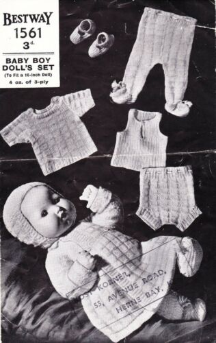 "COPY vintage doll knitting pattern 16/"" PEDIGREE BOY DOLL 3ply"