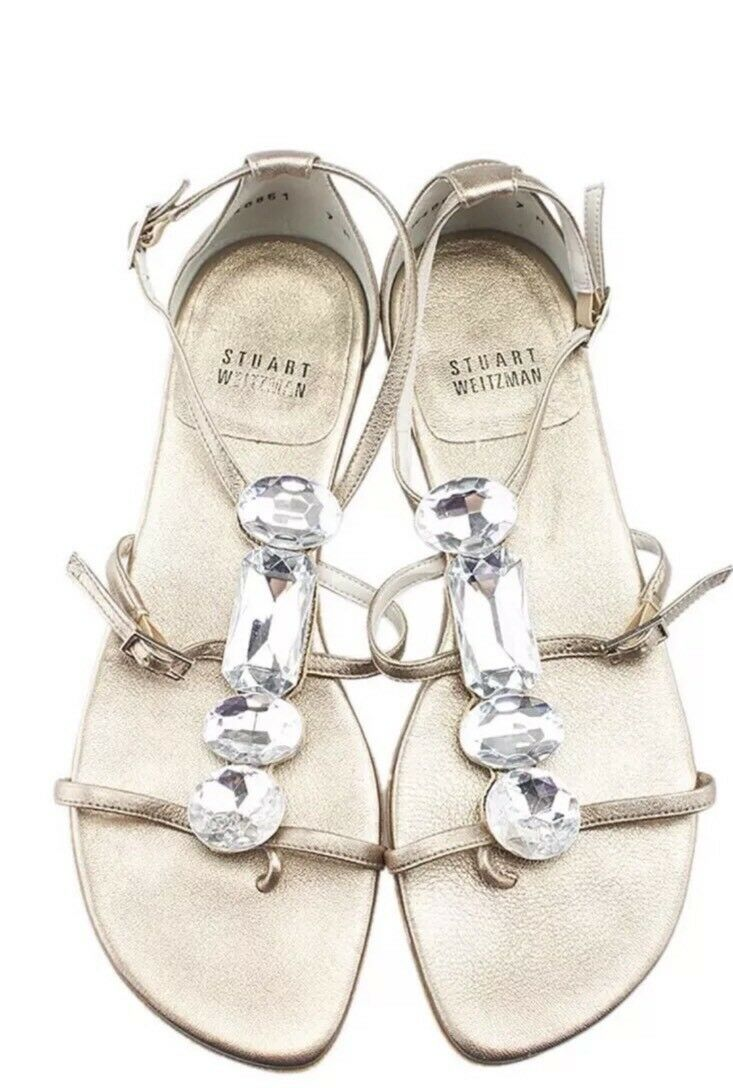 Stuart Leather Weitzman Silber Leather Stuart Stones Appetizer Sandals, Größe 8.5 05bcfb