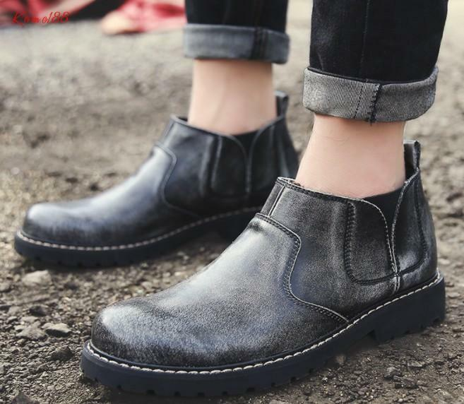 Outdoor Women Chelsea slip on real leather warm fur lined ankle boots