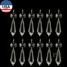 H&D 50PCS Clear Chandelier Glass Crystal Lamp Prisms Parts Hanging Drops 38MM
