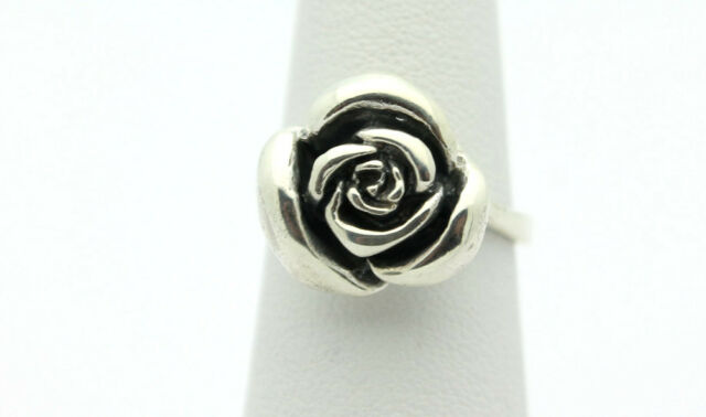 Sterling Silver .925 Simple Detailed Rose Flower Design Ring Sz 6 4.5g #8221