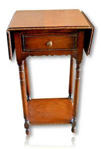 Collectable-Vintage-Antique-Drop-Leaf-Bedside-Table