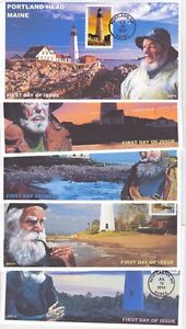 JVC CACHETS - 2013 LIGHTHOUSES - SET OF 5 WITH FISHERMEN FIRST DAY COVER FDC