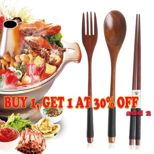 Portable Wooden Tableware Spoon Fork Chopsticks Cutlery Sets with Cloth Pack