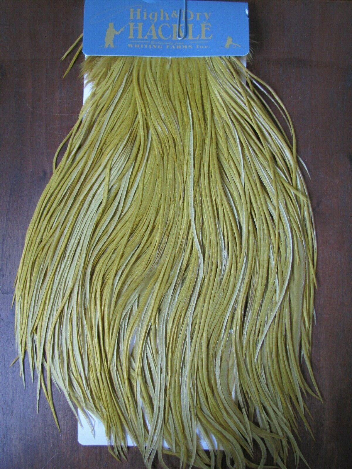 Fly Tying Whiting High and Dry Rooster Saddle blanc dyed oren Olive  A