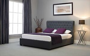 Image Is Loading 4ft6 Double Grey Ottoman Storage Winged Fabric Button
