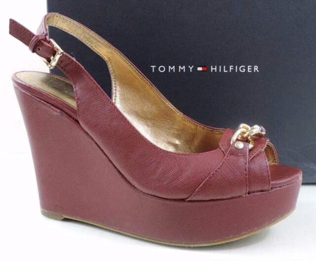 493ae1ad0 Womens Shoes Tommy Hilfiger Mercedi Platform Wedge Heel Sandals Dark Red Size  7 for sale online