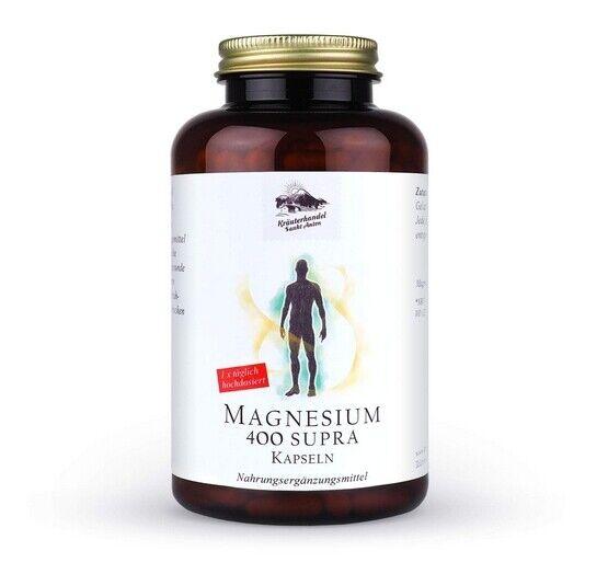 Magnesium 400 Supra mg reines hochdosiert 300 Kapseln (10 Monatsvorrat) Deutsche