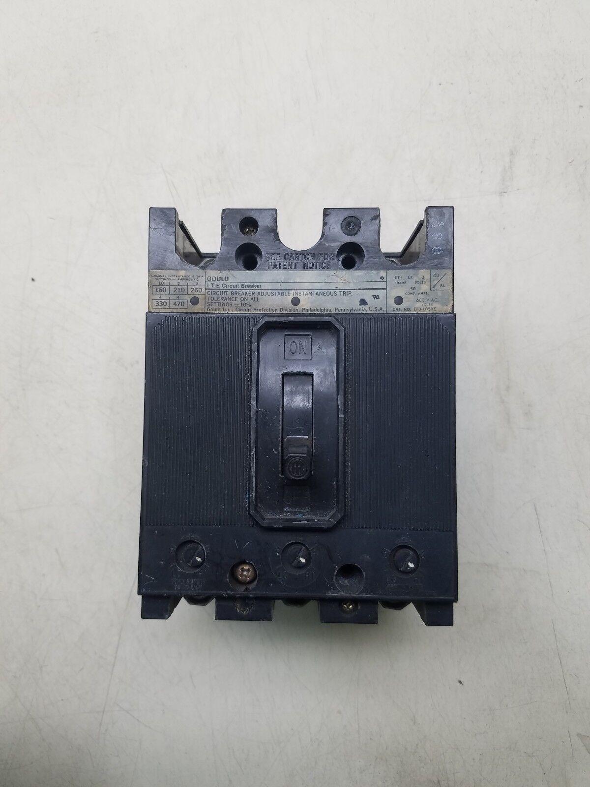 I-T-E EF3 EF3-L050Z 3 pole 50 amp 600 volt Circuit Breaker
