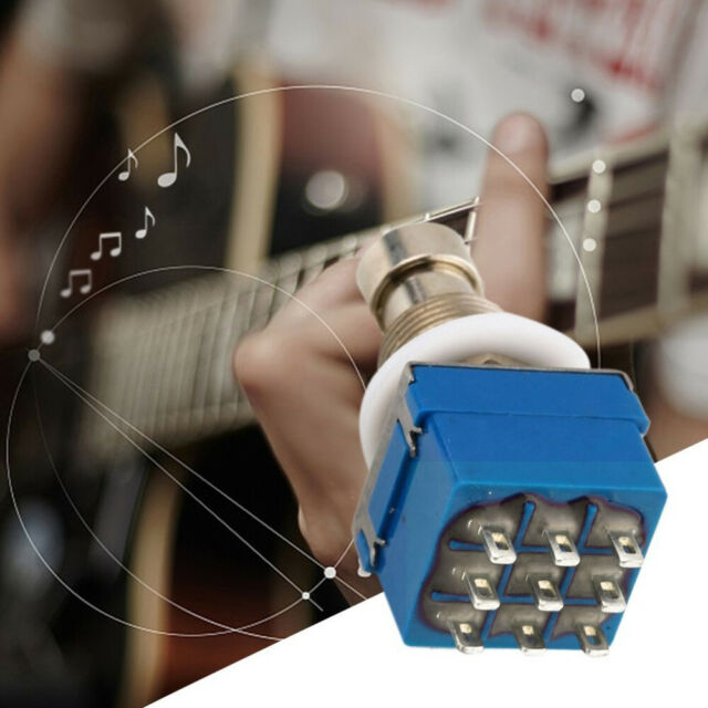 1x 9-pin 3PDT Guitar Effects Pedal Box Stomp Foot Metal Switch True Bypass
