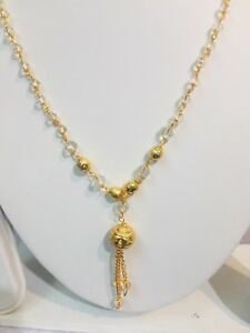 fc3a5fbffd2 Details about Gold Plated Long Necklace Chain With White Beads Free P&P