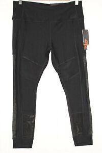 New-RBX-Women-039-s-Active-Legging-7-8-Ankle-Length-Large-Black-Mesh-CR6558