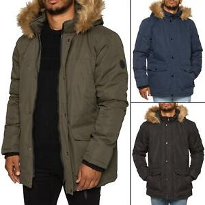 Mens-Parka-Jacket-Faux-Fur-Trimmed-Hooded-Winter-Warm-Long-Padded-Outerwear-Coat