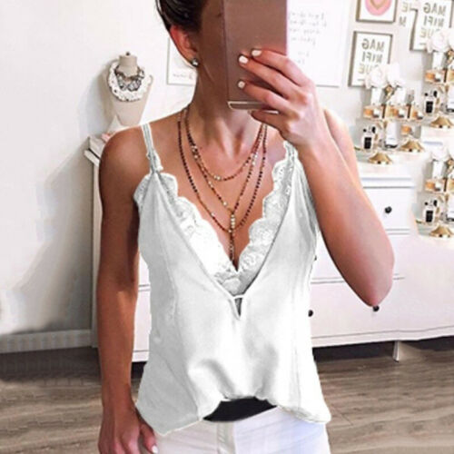 Women Lace Vest Sleeveless Loose Camisole Casual V-Neck Tank T-Shirt Tops Blouse
